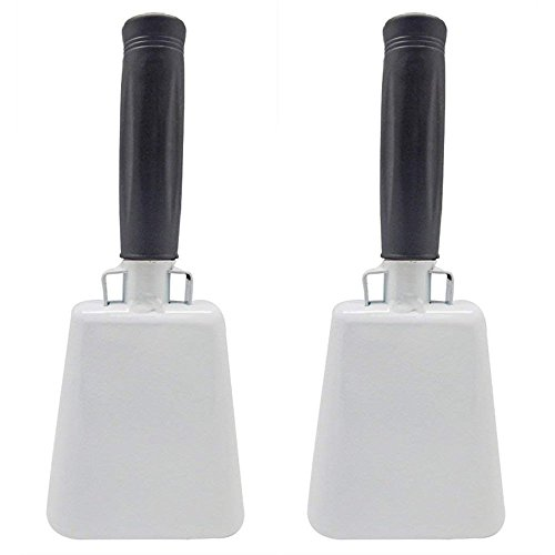 Katzco Cowbell with Stick Rubber Grip Handle and Built-in Clapper - 2 Pack - 10 Inch Steel - Weddings, Sport Events, Farms and Rodeos, Birthday Parties, Marching Bands, and Musical Events