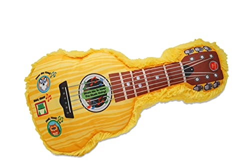 Cuddle Barn My Camping Adventure Guitar - Yellow Musical Soft Guitar Plush Toy with Touch Sensor Strings, 14'