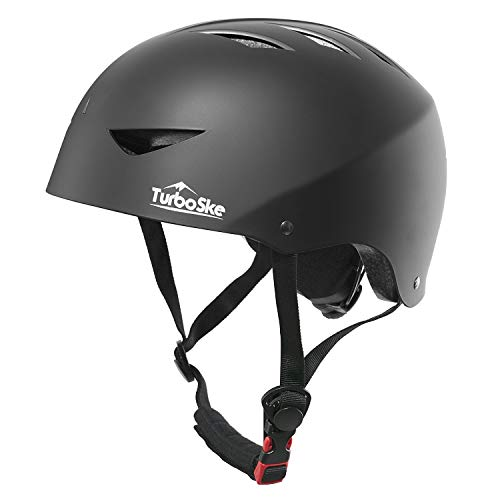 TurboSke Skateboard Helmet, ASTM & CPSC Certified Bike Helmet BMX Helmet Multi-Sport Helmet for Youth Men and Women (L/XL, Matte Black)