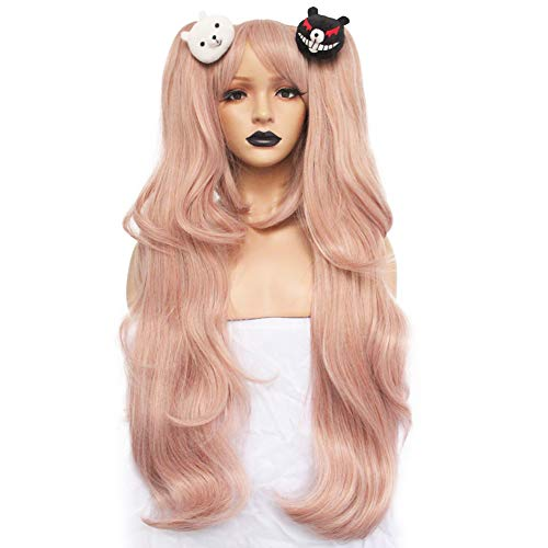 Anogol Hair + { 2 Bears } Light Pink Cosplay Wig Long Synthetic Wig For Girls Costume Party Costume Party Halloween Wig With Hair Accessory