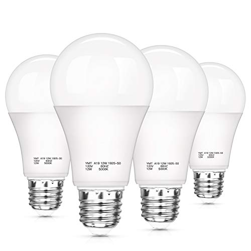 Dusk to Dawn Light Sensor Bulbs, A19 12W(100 Watt Equivalent) LED Auto On Off Light Bulbs, 1200 Lumens, E26 Base, Daylight White 5000K Smart Sensor Lights Outdoor Indoor for Porch Garage Yard, 4-Pack