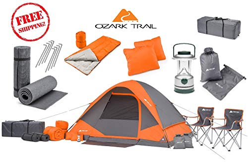 OZARK Trail Family Cabin Tent (Gray/Orange, 4 Person (22 Piece Combo Set))