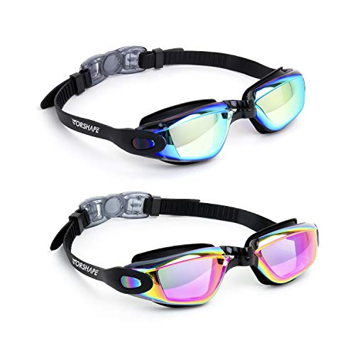 Vorshape Swim Goggles Pack of 2 Swimming Goggle No Leaking Anti Fog UV Protection with Case for Adult Men Women Youth Kids, 9 Choices