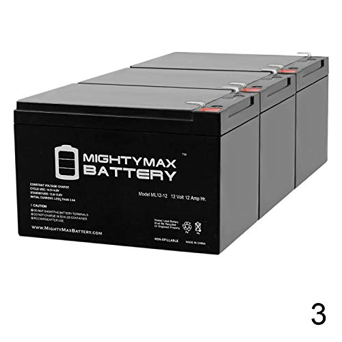 Mighty Max Battery 12V 12A F2 Super Cycles Scooter Super Turbo 800-Elite Battery - 3 Pack Brand Product