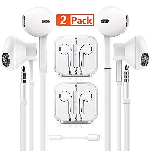 Earbuds - Earphone - Wired Headphones, 3.5mm in-Ear Wired Earbuds with Built-in Microphone & Volume Control Compatible with iPhone 6s plus/6/5s/5c/Pad/S10 Android All 3.5 mm Audio Devices (2 Pack)