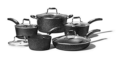 Starfrit Rock 10 Piece Cookware Set, Black