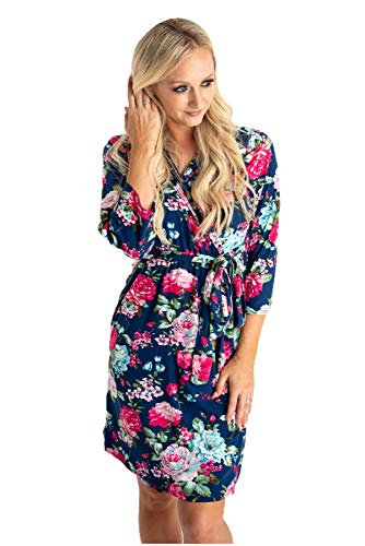 Little Adam and Eve Maternity Robe (Navy Floral, Large)