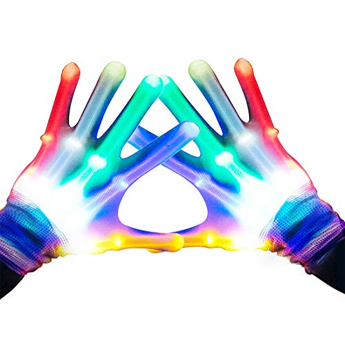 Gifts for Teen Girls, TOPTOY Flashing LED Gloves Gift Ideas for Teen Boys Girls Autism Cool Toys for 3-12 Years Old Boys Girls Best Birthday Gifts Toys Presents for 3-12 Boys Girls Light Gloves TTG001