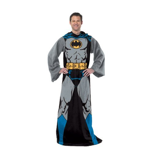 DC Comics Comfy Throw Blanket with Sleeves, Adult-48 x 71 Inches, Batman