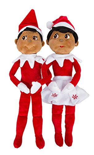 Elf on The Shelf: Christmas Plushee Pals Bundle Dark Skin Brown Eyed Boy and Girl (1) (1)