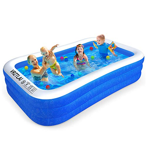 VRZTLAI Family Inflatable Swimming Pool, Inflatable Lounge Pool for Kiddie, Kids, Adults, Infant, Toddlers, Easy Set Swimming Pool for Garden, Backyard, Outdoor Summer Water Party (118' X 72' X 22')
