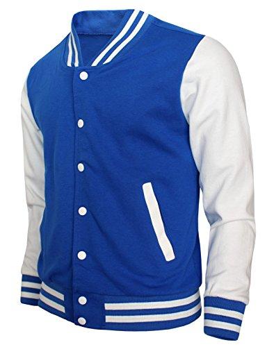 BCPOLO Baseball Jacket Varsity Baseball Cotton Jacket Letterman Jacket 8 Colors-Blue L