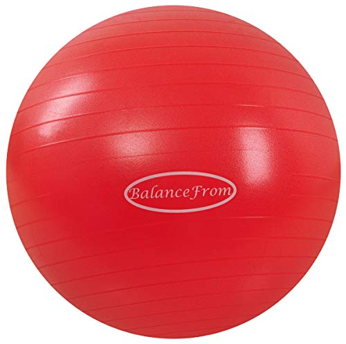 BalanceFrom Anti-Burst and Slip Resistant Exercise Ball Yoga Ball Fitness Ball Birthing Ball with Quick Pump, 2,000-Pound Capacity (58-65cm, L, Red)