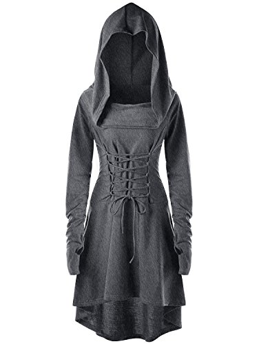 Gemijack Womens Renaissance Costumes Hooded Robe Lace Up Vintage Pullover High Low Long Hoodie Dress Cloak Grey