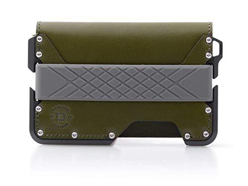Dango D01 Dapper Bifold EDC Wallet - Made in USA - Genuine Leather, Slim, Minimalist, Metal, RFID Blocking