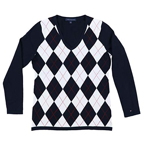 Tommy Hilfiger Womens Argyle Sweater (Small, Navy White)