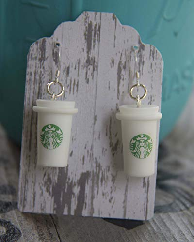 Coffee Earrings Gift for Coffee Lovers with STERLING SILVER Hooks - Please Read Details