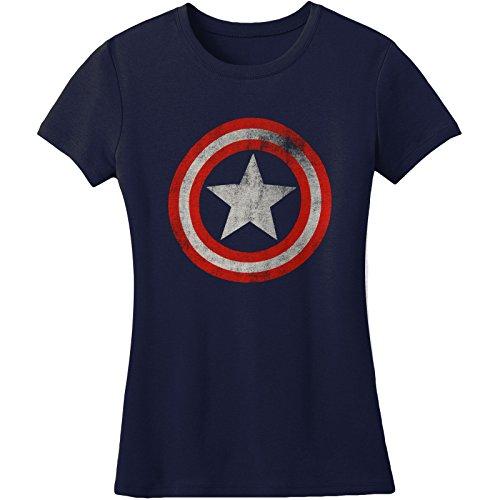 Juniors: Captain America- Distressed Shield Juniors (Slim) T-Shirt Size M Navy