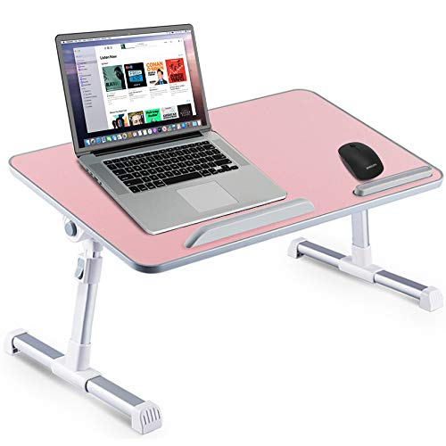 Huryfox Bed Desk for Laptop Foldable Adjustable Bed Tray for Work from Home Large Sized Portable Table for Eating/Gaming/Reading, Multifunctional Lap Stand Pink, 12.9IN X 23.6IN