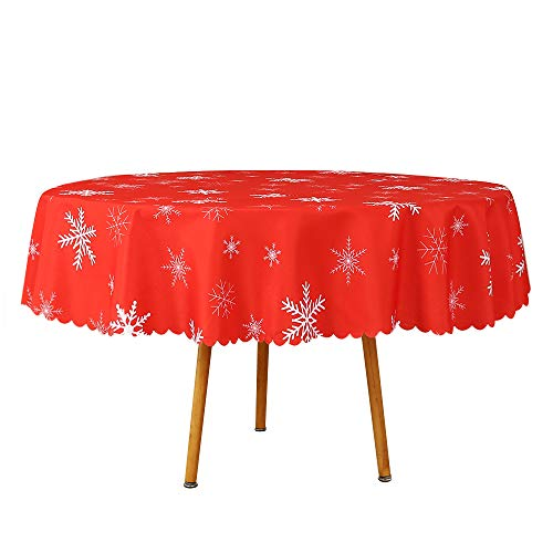 Romanstile Round Christmas Tablecloth - Printed Snowflake Pattern Washable Polyester Water Proof Wrinkle Resistance Fabric Table Cloths for Xmas Dinner/Parties/Holiday Decoration (70 inch)