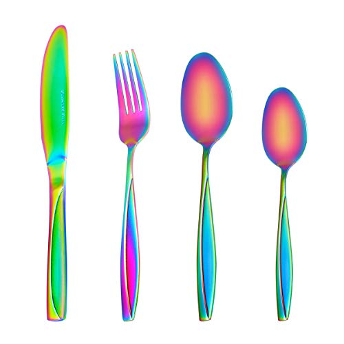 MDEALY 24-Piece Rainbow Silverware Utensils Set Good Quality Stainless Steel Flatware Cutlery Service for 6 Include Dinner Knife Forks Spoon Teaspoons Elegant Mirror & Matte Handle Polished Gift