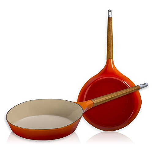 Le Creuset Raymond Loewy Flame Enameled Cast Iron 11 Inch Skillet with Wooden Handle