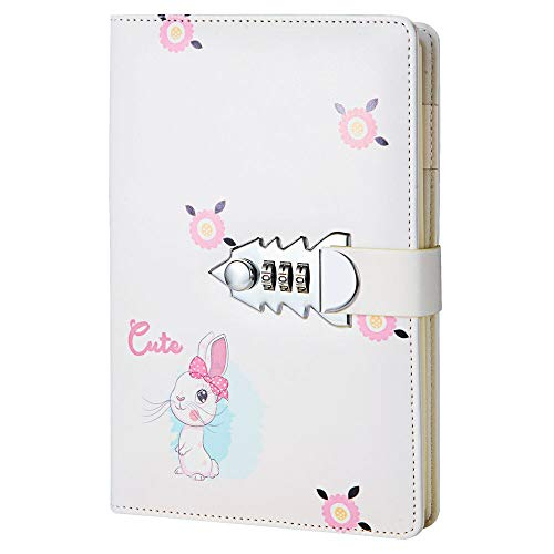 JunShop Creative Password Lock Journal Combination Journal Locking Journal Diary Privacy Journals Leather Binder (Style 1, A5)