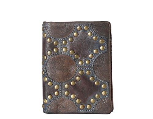 Rimen & Co. Genuine Leather Vintage Studded Pattern Design Bifold Wallet 8201 (Grey)