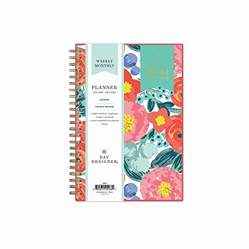 Day Designer for Blue Sky 2021 Weekly & Monthly Planner, Frosted Flexible Cover, Twin-Wire Binding, 5' x 8', Floral Sketch (122186)