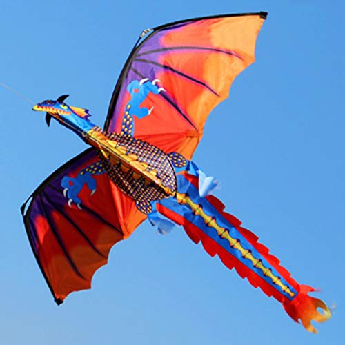 Kekailu Dragon Kite,Outdoor Colorful 3D Dragon Flying Kite with 100m Tail Line Children Kids Toys