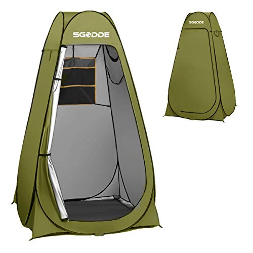 SGODDE Pop Up Privacy Shower Tent,Instant Portable Outdoor Shower Tent Camp Toilet, Changing Room, Rain Shelter with Carry Bag for Camping Hiking Beach Toilet Shower Bathroom Green