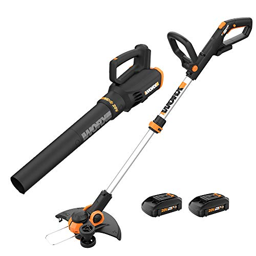 WORX WG928 GT 3.0 Grass Turbine 2 20V Batt/Charger Included String Trimmer Blower Combo Kit, Black and Orange