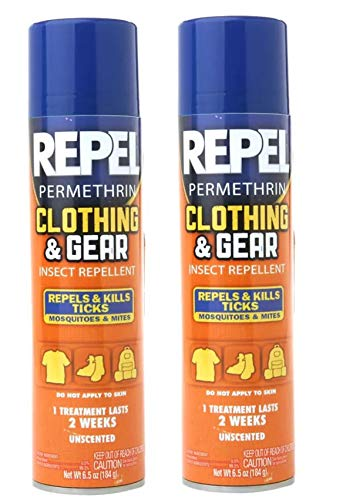 Repel 2 Pack Permethrin Clothing & Gear Insect Repellent Aerosol Spray, 6.5-Ounce Each Bottle, and Kills Ticks, Mosquitoes, Mites