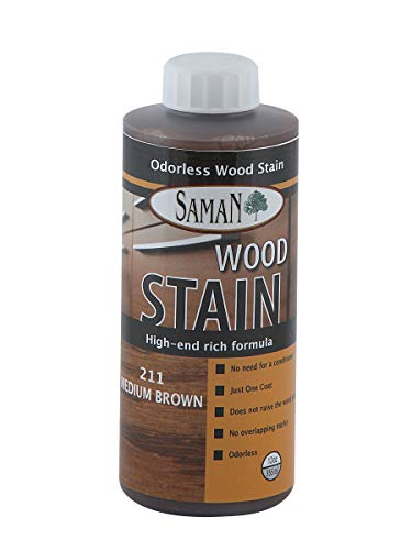 SamaN Interior Water Based Stain for Fine Wood, Medium Brown, 12 oz