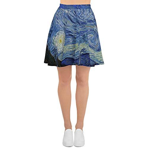 Starry Night, All-Over Print Skater Skirt, Vintage Painting, Van Gogh 1889 White