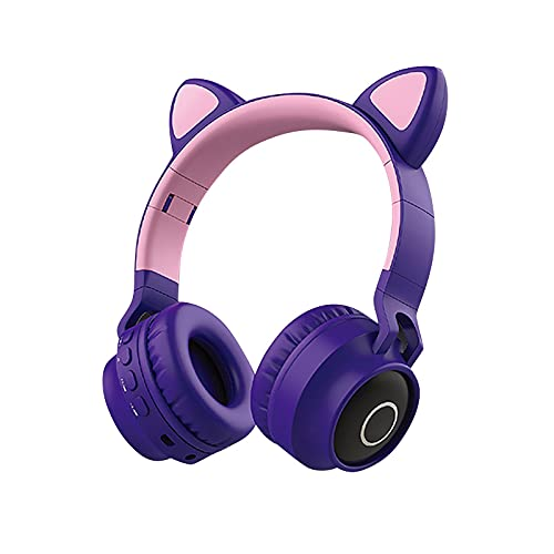 Wireless Headset Bluetooth 5.0 Cat Ear Headphones LED Stereo Foldable Noise Cancelling Headphone Rechargeable Lumious Headset Compatible with iPhone/Kindle/iPad/Laptop/PC/TV (D)