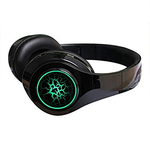 Bluetooth Headphones, TeaBoy Folding Stereo Wireless Bluetooth Headphones Over Ear with Microphone LED Light and Volume Control, 12H Playtime Wireless and Wired Headset for PC/Cell Phones/TV
