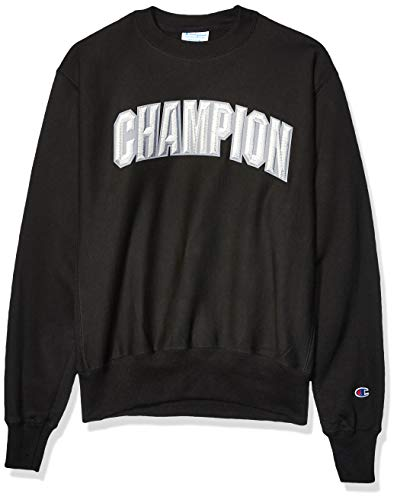 Champion LIFE Men's Reverse Weave Crew-Block Champion Arch, Black, Large