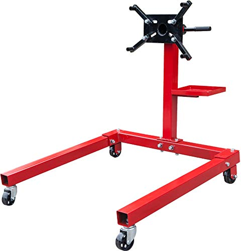 BIG RED T25671 Torin Steel Rotating Engine Stand with 360 Degree Rotating Head and Tool Storage Tray: 5/8 Ton (1,250 lb) Capacity, Red