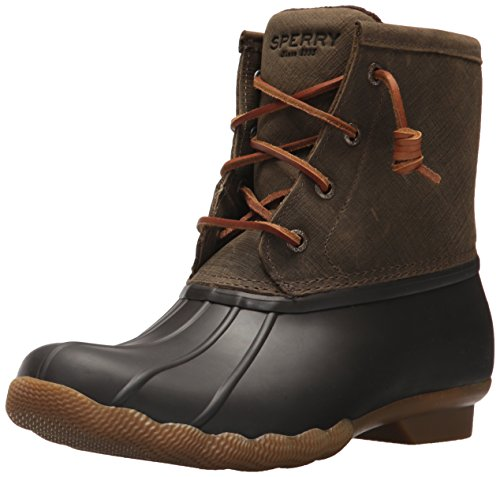 Sperry Womens Saltwater Boots, Brown/Olive, 8
