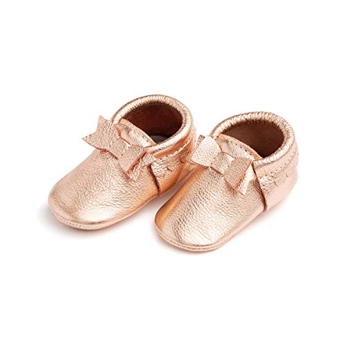 Freshly Picked - Rubber Mini Sole Leather Bow Moccasins - Toddler Girl Shoes - Size 6 Rose Gold Pink