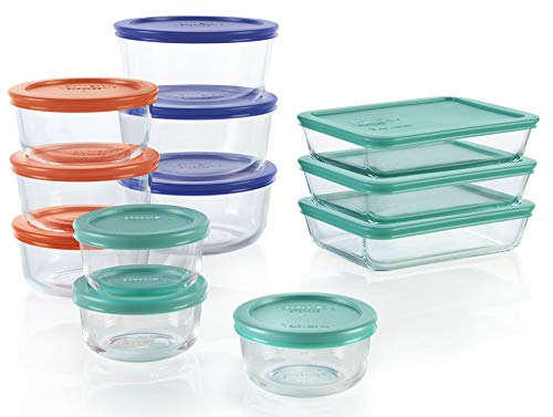 Pyrex Simply Store Meal Prep Glass Food Storage Containers (24-Piece Set, BPA Free Lids, Oven Safe)
