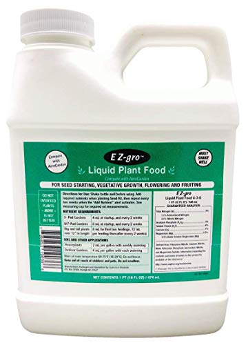 EZ-gro Liquid Plant Food for Aerogardens (1 PT)   Hydroponic Liquid Fertilizer for Smart Garden   Liquid Fertilizer is a Replacement for Aerogarden Liquid Plant Food   Source of Hydroponic Nutrients