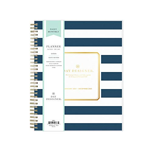 Day Designer for Blue Sky 2021 Daily & Monthly Planner, Frosted Flexible Cover, Twin-Wire Binding, 8' x 10', Navy Stripe (103622-21)