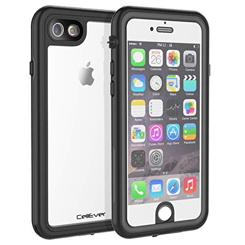 CellEver Compatible with iPhone 6 / 6s Waterproof Case Shockproof IP68 Certified SandProof Snowproof Full Body Protective Clear Transparent Cover Designed for iPhone 6 / 6s (4.7 Inch) KZ Black