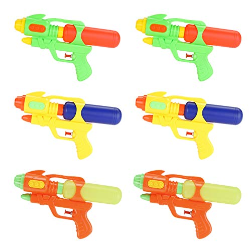 Fun-Here Water Guns 9 Inch 6 Packs for Kids Adults Multicolor Squirt Gun in Party Pool Bath Favors Indoor Outdoor Funy Summer Toy (Pack of 6) (9 Inch)