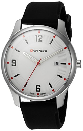 Wenger Men's City Active Stainless Steel Swiss-Quartz Watch with Silicone Strap, Black, 21 (Model: 01.1441.108)