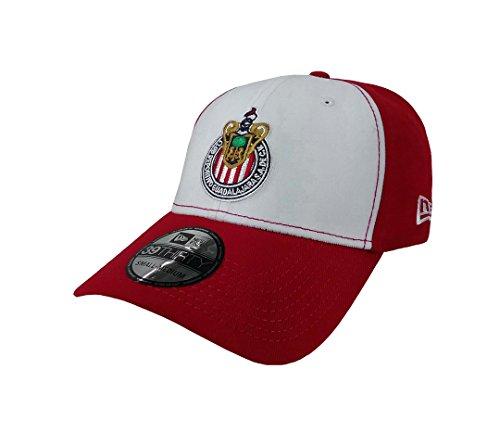 New Era 39Thirty Hat Chivas De Guadalajara Liga MX Soccer Cap (Medium/Large) White/Red