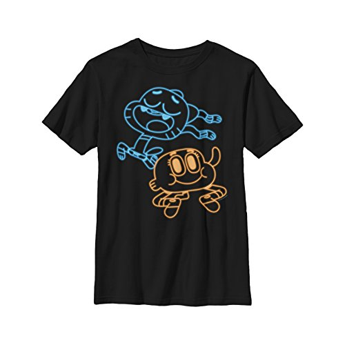 Fifth Sun The Amazing World of Gumball Boys' Best Friend Neon Light Print Black T-Shirt