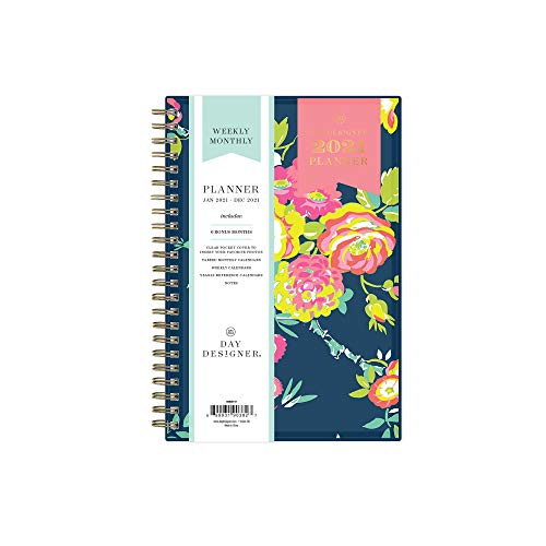 Day Designer for Blue Sky 2021 Weekly & Monthly Planner, Flexible Cover, Twin-Wire Binding, 5' x 8', Peyton Navy (103620-21)